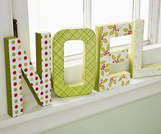 Wish good tidings with papier-mache letters propped on a windowsill or mantle! More #holiday crafts: http://www.bhg.com/christmas/crafts/christmas-holiday-crafts/