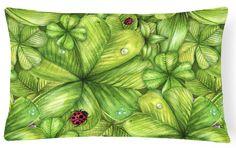 Shamrocks and Lady bugs Canvas Fabric Decorative Pillow BB5754PW1216