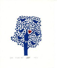 Love Bird Tree Linocut, Original Lino Print, I love you, Hand Printed, Wedding, 8 x 10, Anniversary, Blue, Red, White, Uk
