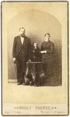 Cabinet Card for Dudly Foster, a primordial dwarf, at five years old weighed 5 pounds.