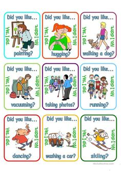 Go fish - Did you like + verb + ing? - ESL worksheet by English Study, English Class, English Lessons, Learn English, English Speaking Practice, Teaching English, List Of Adjectives, Learning For Life, Conversational English