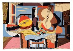 PABLO PICASSO - MODERN ART WALL TAPESTRY MANDOLINE ET GUITARE (painted in 1924)