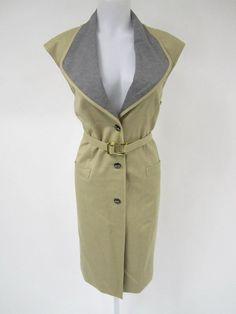 ESCADA Tan Wool Sleeveless Shawl Collarless Button Down Belted Dress Sz 40 at www.ShopLindasStuff.com
