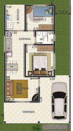 Casa pequena com três quartos