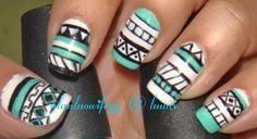 Teal aztec nails
