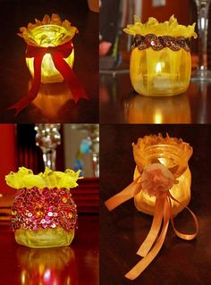 Made from baby food jars-- they look like sunflowers! Crafty Moods_ How to Make Candle Holders from Baby Food Jars_ Great Idea ! Baby Jars, Baby Food Jars, Diy Candles, Candle Jars, Candle Holders, Baby Food Jar Crafts, Mason Jar Crafts, Mason Jars, Bottles And Jars