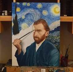 Vincent Van Gogh self portrait on a starry night by Peter Perlegas