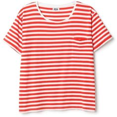 Original Stripe Tee ❤ liked on Polyvore featuring tops, t-shirts, tees, shirts, pink striped shirt, t shirts, cotton shirts, short sleeve t shirt and cotton t shirt