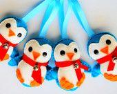 4 Penguin Christmas Felt Ornament