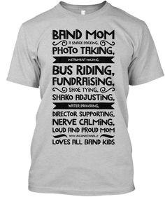 + Band Mom Definition Black Lettering Light Steel T-Shirt Front