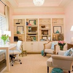A La Mode Maven - dens/libraries/offices - Benjamin Moore - Pink Harmony - tray ceiling, blue, ikat, pillows, blue, garden stool, pink, walls, sisal, rug, grommet, drapes, white, built-ins, vintage, chairs, pink office,