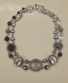 Stephen Dweck Never Worn Classic Black & Crystal & Pearl Necklace From The 80's