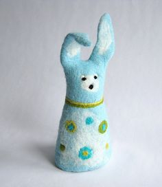 Easter bunny rabbit hand felted easter bunny blue by Dagneart, $25.00
