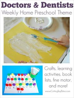 Doctors and Dentists Preschool Theme- Crafts, activities, fine motor activity, pretend play, and more! Perfect amount of EASY activities for one week of homeschool pre-k.