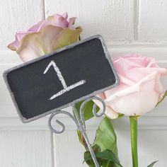 chalk board label on stem by lilac coast weddings | notonthehighstreet.com