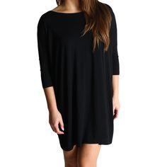 Black Piko Tunic Half Sleeve Dress