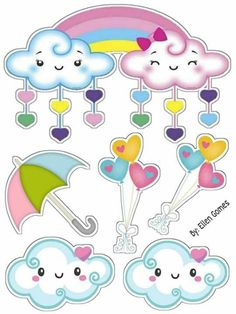 Topo de bolo chuva de amor para imprimir Girl Birthday Themes, First Birthday Parties, Birthday Party Decorations, Rain Clipart, Clipart Baby, Cloud Party, Cake Templates, Crafts For Kids, Diy Crafts