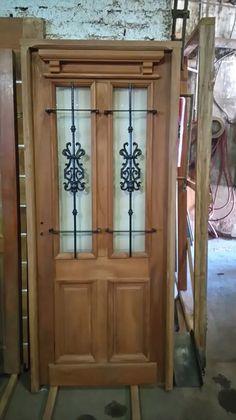 puerta cedro  100x200  antigua con reja y vidrio extra porch