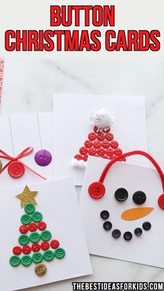 Hottest Screen christmas Crafts for Girls Thoughts If you want to pitch a wonderful bash, one which your current girl may recall for a long time, you will want Button Christmas Cards, Christmas Buttons, Christmas Card Crafts, Button Cards, Printable Christmas Cards, Handmade Christmas, Button Ornaments, Christmas Card Making, Easy Kids Christmas Crafts