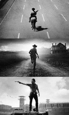 Rick's iconic shots. Season 1: Entering Atlanta. Season 2: Hershel's Farm. Season 3: The Prison. The Walking Dead.