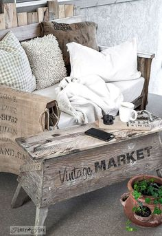 Super Cool Upcycled Trunks Idea Box By Angie Knick Of Time - Charming vintage diy sawhorse coffee table