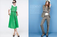 Love the green dress - styled so cute.