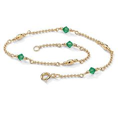 "Simulated Birthstone 14k Gold over .925 Silver Ankle Bracelet 11"" - May - Simulated Emerald * For more information, visit…"