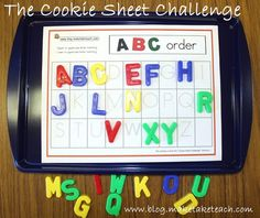 Cookie Sheet Challenge Perfect for a kindergarten center or small group instruction activity. Use on a cookie sheet! Free sample templatesPerfect for a kindergarten center or small group instruction activity. Use on a cookie sheet! Kindergarten Centers, Preschool Literacy, Early Literacy, Kindergarten Reading, Kindergarten Classroom, Literacy Activities, Spelling Activities, Literacy Bags, Kindergarten Letter Activities