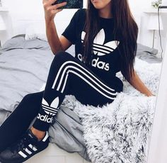 Women Fashion Adidas Print Stretch Exercise Fitness Pants Trousers Leggings Sweatpants Shirt Top Tee