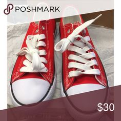 Red and White Sneakers converse look like available  Red Black and white and Royal blue  bundle and save on shipping  no lowballing Shoes