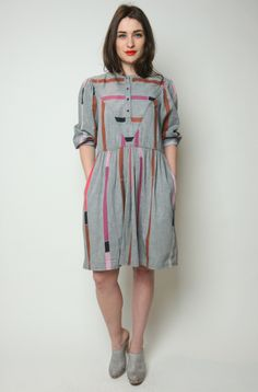 Lovely Grey Stripe Dress (Medium)