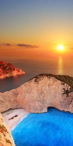 希臘札金索斯州的夕陽