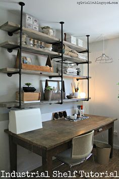Industrial shelving / pipes / wood / rustic / industrial - bathroom shelves over toliets Industrial Shelving, Rustic Shelves, Rustic Industrial, Wood Shelves, Pipe Shelves, Diy Shelving, Hanging Shelves, Office Shelving, Open Shelving
