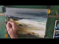 How to Watercolour Beach Painting Stormy Sky - YouTube