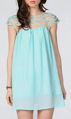 Mint Green Cut Out Shift Chiffon Mini Dress This dress would go great with the new Morning Tide pieces! www.chloeandisabel.com/boutique/candacedeanes