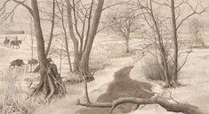 Landskab m. borg og ryttere, sen bronzealder, Brandenburg – Landschaft mit Burg und Reiter,  Spätbronzezeit, Brandenburg – Landscape with castle and horsemen, Late Bronze Age, Brandenburg