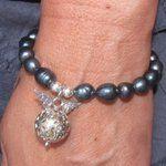 samaki Engelrufer Armband mit schwarzer Perle