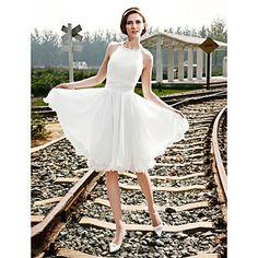 A-line Halter Knee-length Chiffon Wedding Dress  – USD $ 119.99