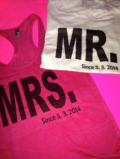 Mr and mrs shirts. Customized tshirts. Husband by WeddingApparel