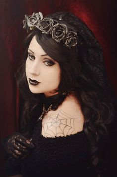 "Gothic romantique headband / Serre-tête Gothique Restyle ""Black Roses"""