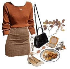 look breakfast Outfit Mode Outfits, Retro Outfits, Cute Casual Outfits, Skirt Outfits, Fall Outfits, Vintage Outfits, Fashion Outfits, Outfit Winter, Aesthetic Fashion