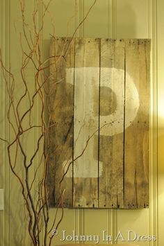 Upcycled, recycled, repurposed pallette wall hanging, painted initial. Shabby chic, easy, DIY
