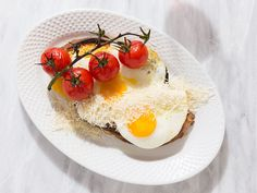 Fried Egg and Cheese Toast with Roasted Tomatoes