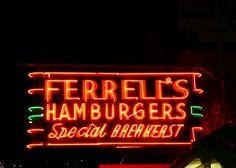 Ferrell's Hamburgers neon sign