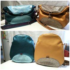 2 sacs à dos transformables Limbo simili et glitter bleu et jaune cousus par Virginie - Patron Sacôtin