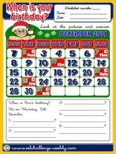 #BIRTHDAYS WORKSHEET GET THE PACK HERE: http://www.teachenglishstepbystep.com/packs.html