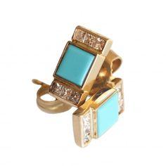 Square Turquoise and Diamond Earrings - Monciun