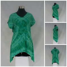 Size large kelly green tie dye tunic top with V-neck and short sleeves in bamboo blend fabric. by qualicumclothworks on Etsy