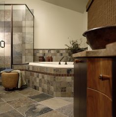 Slate Tile Bathroom Design Ideas, Pictures, Remodel, and Decor