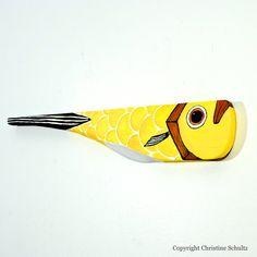 Fish Decor Handmade Mississippi Folk Art Painted Yellow Reclaimed Wood